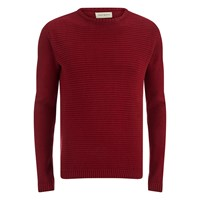 Oliver Spencer Men's Ripple Stitch Crew Neck Jumper Red