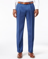 Louis Raphael Men's Straight Fit Double Pleated Dress Pants Paris Blue