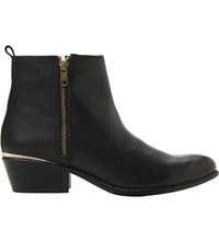 Steve Madden Side Zip Leather Ankle Boots Black Leather