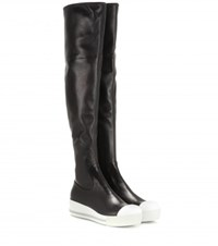 Miu Miu Leather Platform Over The Knee Boots Black