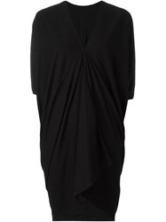 Rick Owens Drkshdw Draped V Neck Dress Black