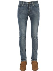Saint Laurent 15Cm Washed Stretch Cotton Denim Jeans