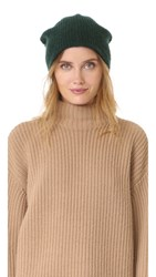 White Warren Cashmere Plush Rib Beanie Emerald