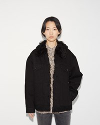 Alexander Wang Boyfriend Denim Fur Jacket Black