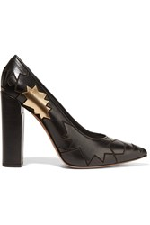 Golden Goose Metallic Trimmed Debossed Leather Pumps Black