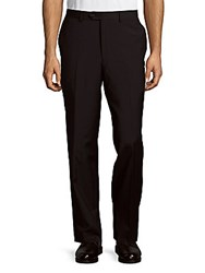 Saks Fifth Avenue Wool Flat Front Trousers Black