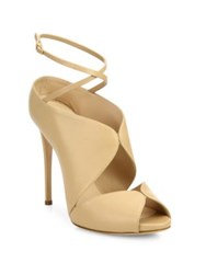 Casadei Cutout Leather Ankle Wrap Sandals Nude
