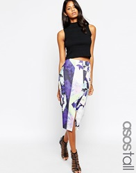 Asos Tall Graphic Floral Scuba Pencil Skirt With Wrap Print