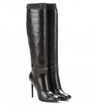 Tom Ford Leather Knee High Boots Black