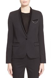 The Kooples One Button Stretch Wool Smoking Jacket Black