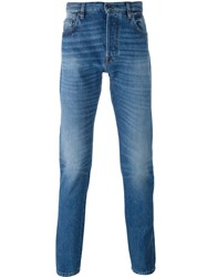 Valentino Star Intarsia Denim Chinos Blue
