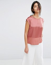 Mango Satin Front Relaxed Tee Rust Copper