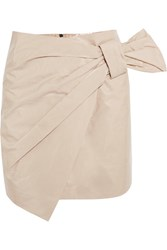 Isabel Marant Anders Wrap Effect Coated Cotton Blend Mini Skirt Off White
