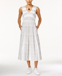 Rachel Rachel Roy Printed Pleated Midi Dress White Combo