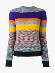 Missoni Striped Alpaca Knitted Jumper Multi Coloured Purple Yellow Orange Blue Navy