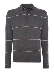 Peter Werth 1975 Merino Hooped Knitted Polo Shirt Charcoal