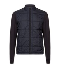 Boss Quilted Front Zip Up Jumper Male Navy