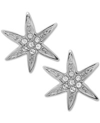 Nina Gold Tone Swarovski Crystal Pave Starfish Stud Earrings Silver