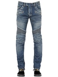 Balmain 18Cm Washed Cotton Denim Biker Jeans