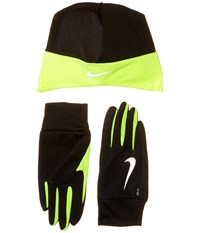 Nike Dri Fit Running Beanie Glove Set Black Volt Athletic Sports Equipment