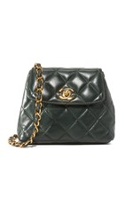 Wgaca Chanel Trapezoid Fanny Pack Previously Owned Dark Green