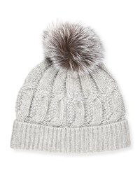 Sofia Cashmere Cable Knit Fur Pom Beanie Hat Gray