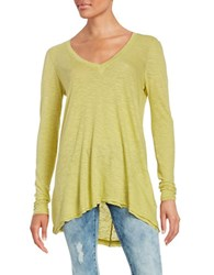 Free People Distressed Shark Bite Long Sleeve Jersey Tee Yellow