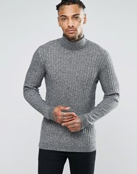 Asos Muscle Fit Ribbed Roll Neck Jumper In Merino Wool Mix Black And White Twist Grey