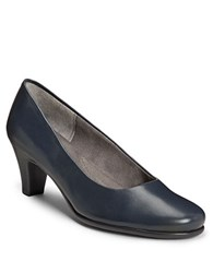 Aerosoles Redhot Glazed Leather Pumps Dark Blue