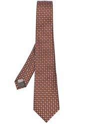 Canali Floral Embroidered Tie Yellow And Orange
