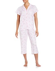 Karen Neuburger Plus Cropped Pajama Set Ditsy Pink