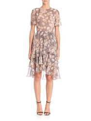 Jason Wu Floral Chiffon Short Sleeve Silk Day Dress Fawn Multi