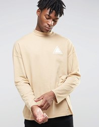 Asos Oversized Long Sleeve T Shirt With Chest Print And Turtle Neck Yellow