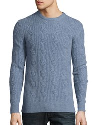 Black Brown Cable Knit Cashmere Sweater Pale Blue