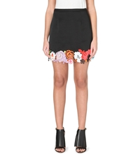 Christopher Kane Neon Floral Lace Satin Skirt Black Multi