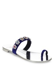 Giuseppe Zanotti Nuvo Rock Swarovski Crystal Suede Toe Ring Slides Zaffiro Party