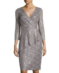 Marina Short Faux Wrap Sequined Lace Dress Silver
