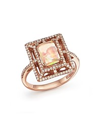 Bloomingdale's Opal And Diamond Statement Ring In 14K Rose Gold
