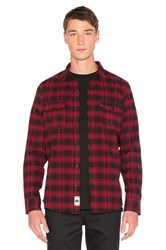 Huf Tardy Flannel Button Down Red