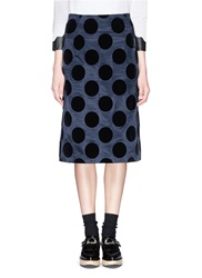 Toga Archives Polka Dot Velvet Flock Skirt Blue