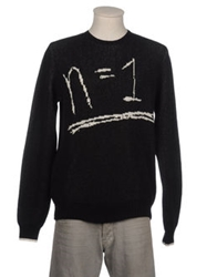 Keith Tyson With Mother Of Pearl Crewneck Sweaters Black