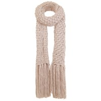 Miss Selfridge Cable Knit Fringed Scarf Nude