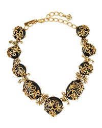 Resin Filigree Collar Necklace Black Oscar De La Renta