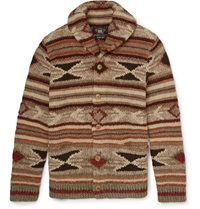 Rrl Wool Linen Silk And Cotton Blend Cardigan Brown