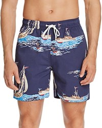 Brooks Brothers Boat Print Swim Trunks Black Iris