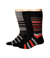 Cole Haan Town Stripe Crew 3 Pack Black Graphite Heather Black Mid Grey Heather Black 1 Men's Crew Cut Socks Shoes Multi