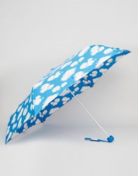Cath Kidston Minilite Umbrella In Mini Clouds Print Clouds Blue