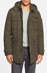 Black Rivet Hooded Cotton Military Parka Online Only Olive