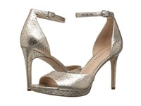 Via Spiga Salina2 Platinum Metal Wash Land Snake High Heels Gold