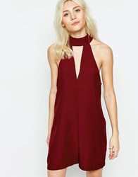 Neon Rose Playsuit With Cut Out Detail Wine Red